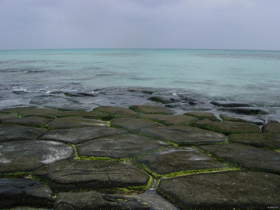 Nature Photograph - Natural Forming Pentagon Rock Formations Of Kumejima Okinawa Japan by Jeff at JSJ Photography