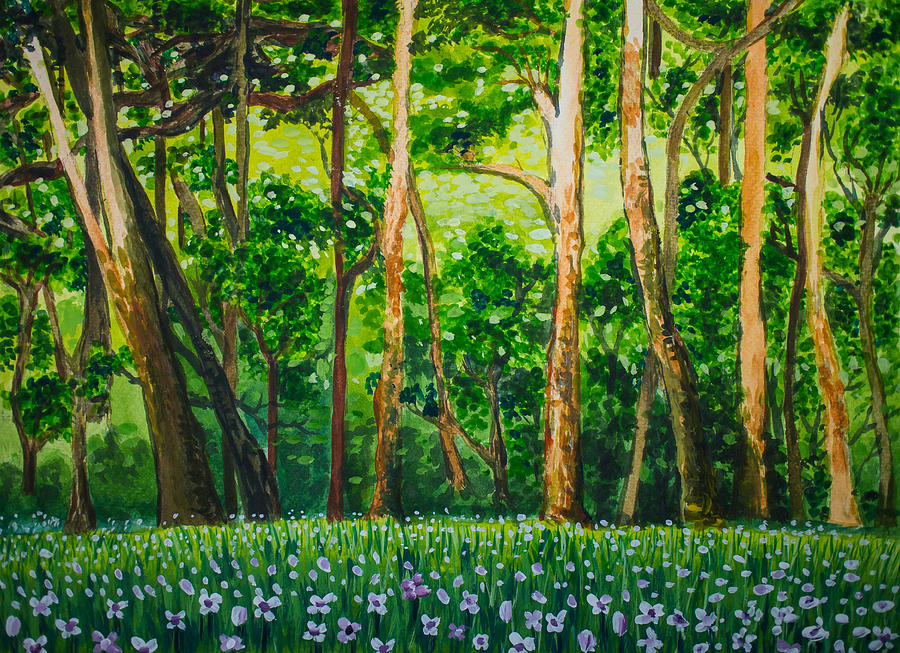 Natural Green Forest And Flowers With Acrylic Color ...