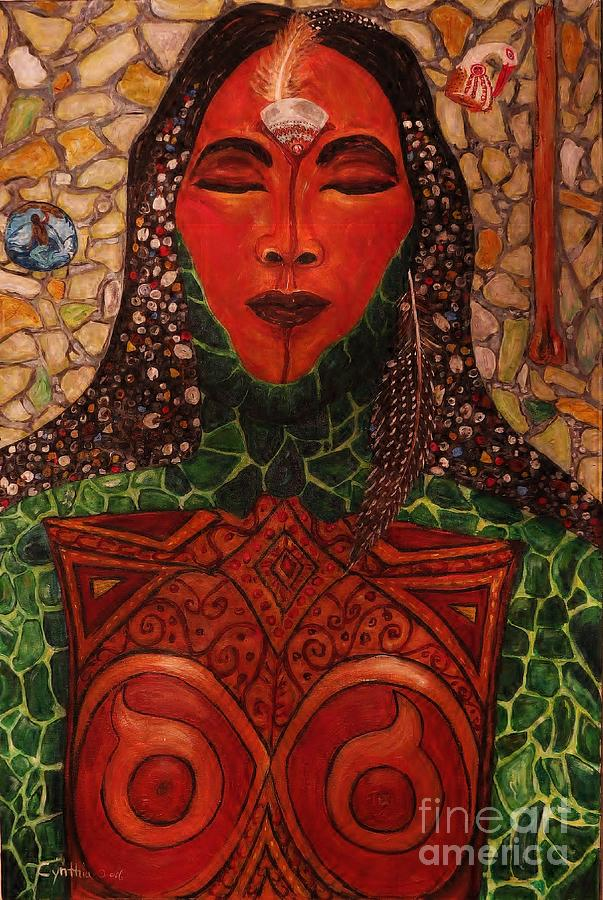 Abstract Painting - Natural Warrior Goddess by Cynthia Hagenhoff