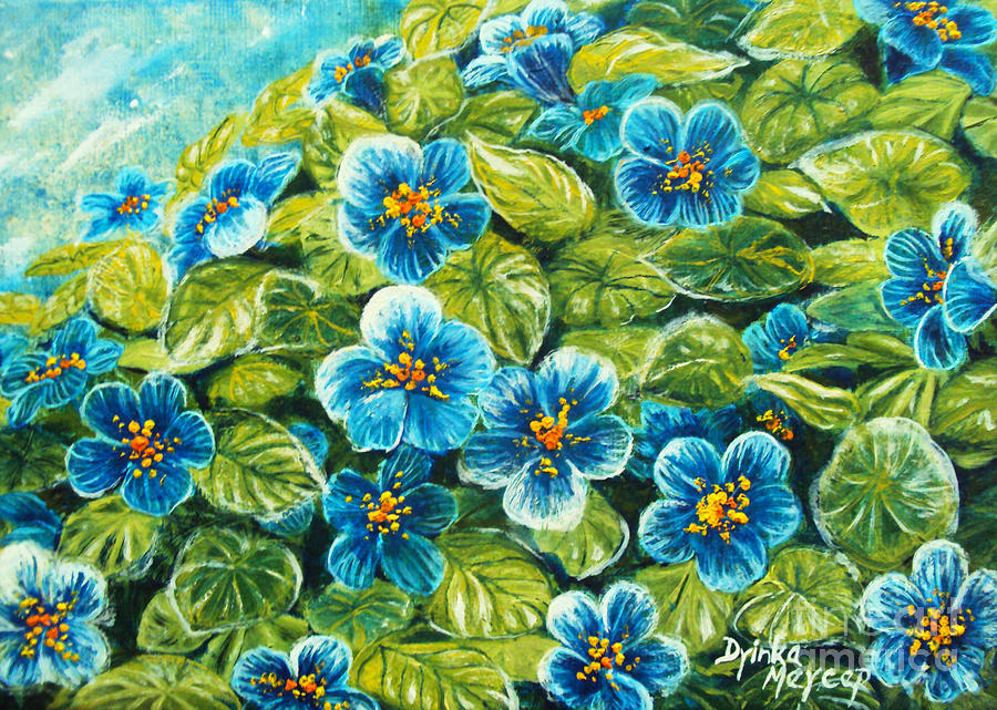 Nature Artwork Painting - Nature Blue Flowers Original Painting Oil On Canvas by Drinka Mercep
