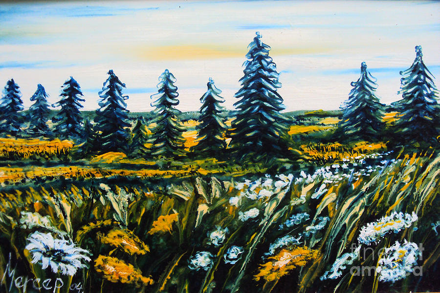 Clouds Painting - Nature Landscape Field Flowers Pines Art  by Drinka Mercep