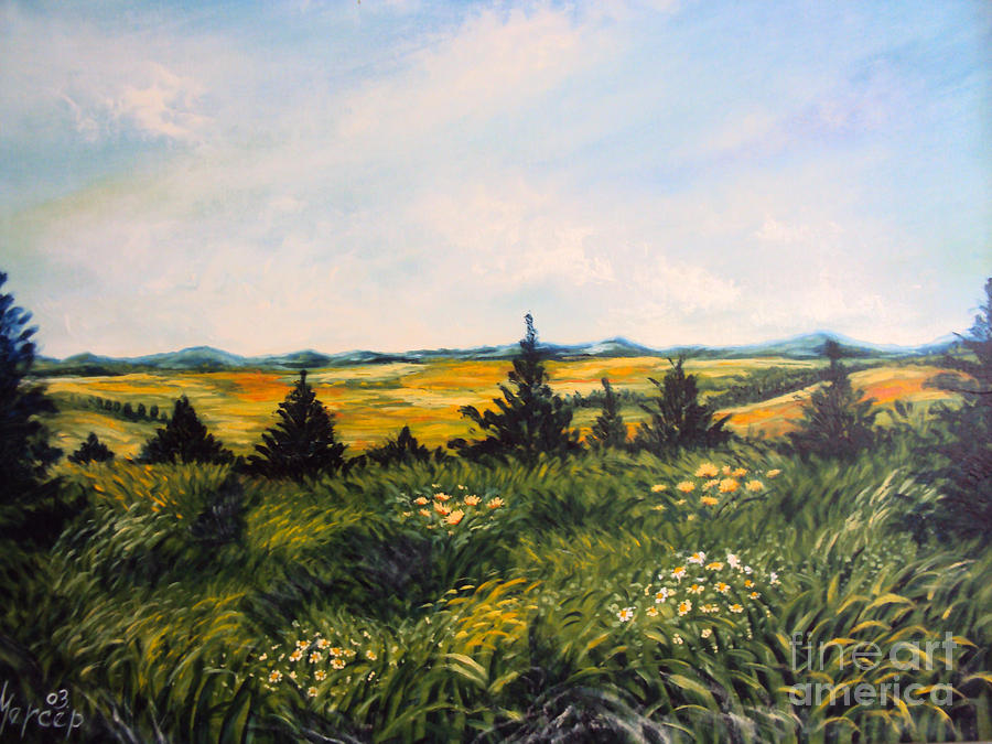 Nature Painting Painting - Nature Landscape Sky Mountains Pines Grass And Flowers by Drinka Mercep