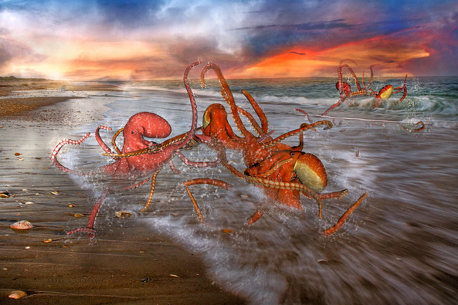 Octopus Digital Art - Nature Of The Game by Betsy Knapp