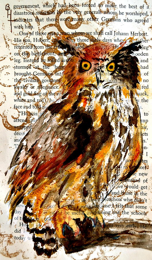 Owl Painting - Nature Prevails High Contrast by Beverley Harper Tinsley