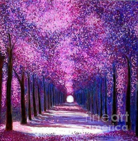 Cherry Trees Painting - Natures Cathedral by Marie-Line Vasseur