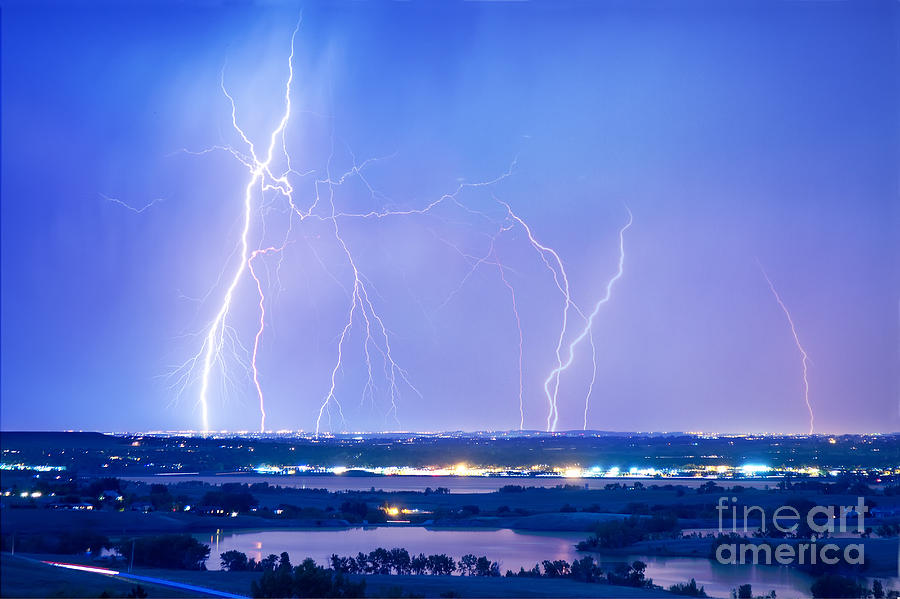 Lightning Photograph - Natures Light Show Over The Boulder Reservoir  by James BO  Insogna
