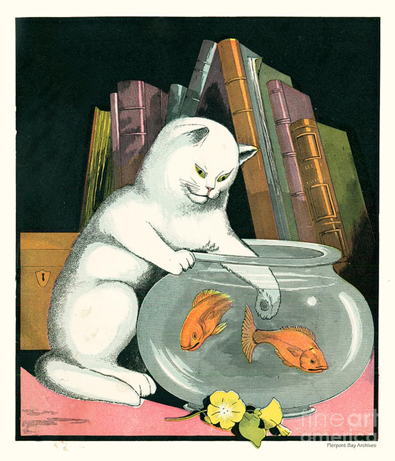 Naughty Cat Fishes For Goldfish In Fish Bowl Digital Art by Pierpont Bay Archives