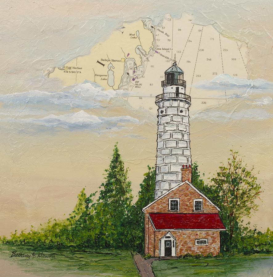 Cana Island Painting - Nautical Chart Cana Island Lighthouse by Bethany Kirwen