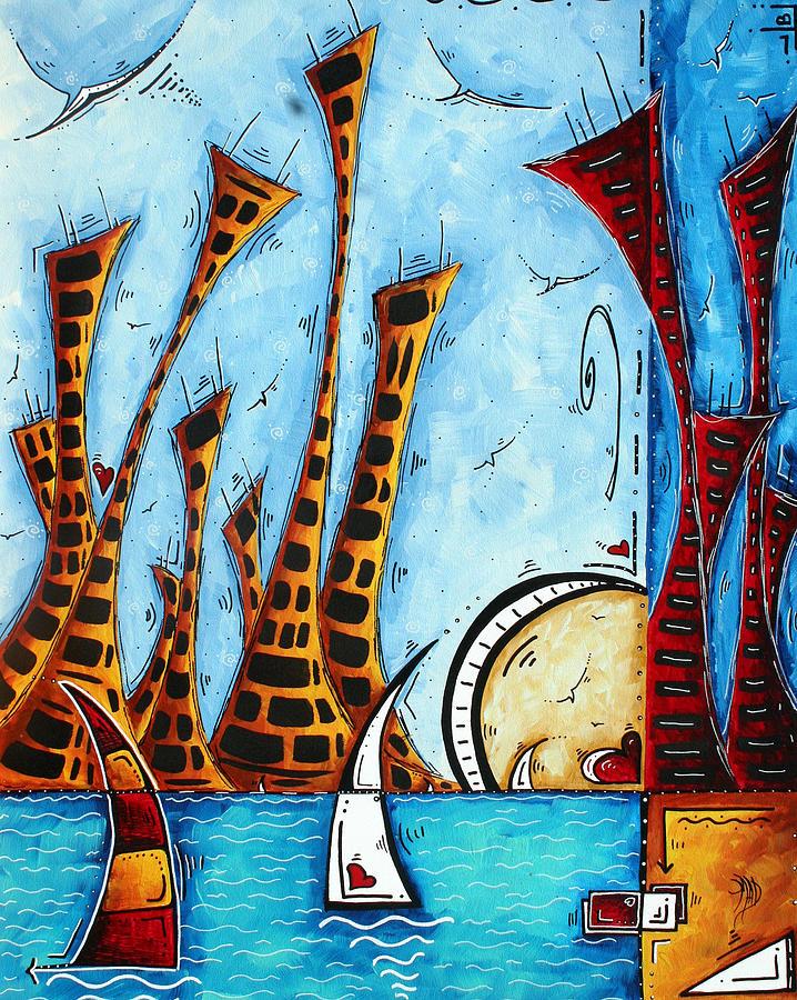 Coastal Painting - Nautical Coastal Art Original Contemporary Cityscape Painting City By The Bay By Madart by Megan Duncanson