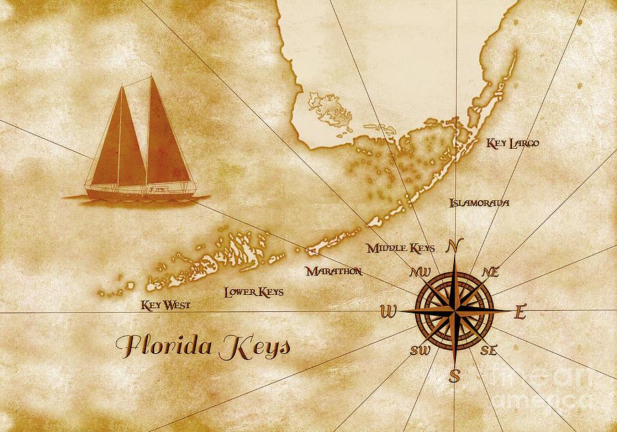 Nautical Florida Keys Map Digital Art By Chris Macdonald