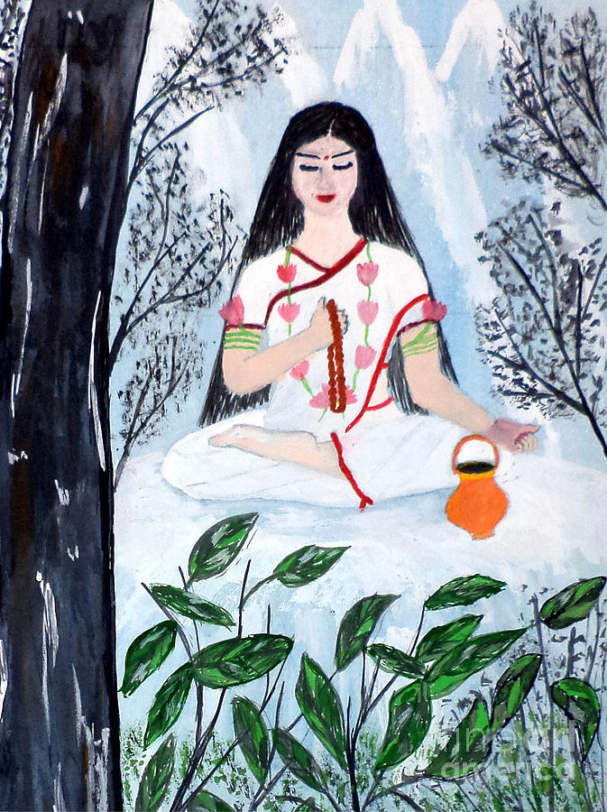 Brahmacharini Painting - Nava Durga Brahmacharini by Pratyasha Nithin