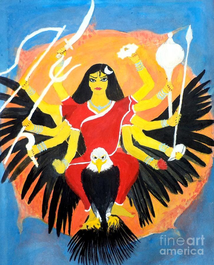 Nava Durga Painting - Nava Durga Chandraghanta by Pratyasha Nithin