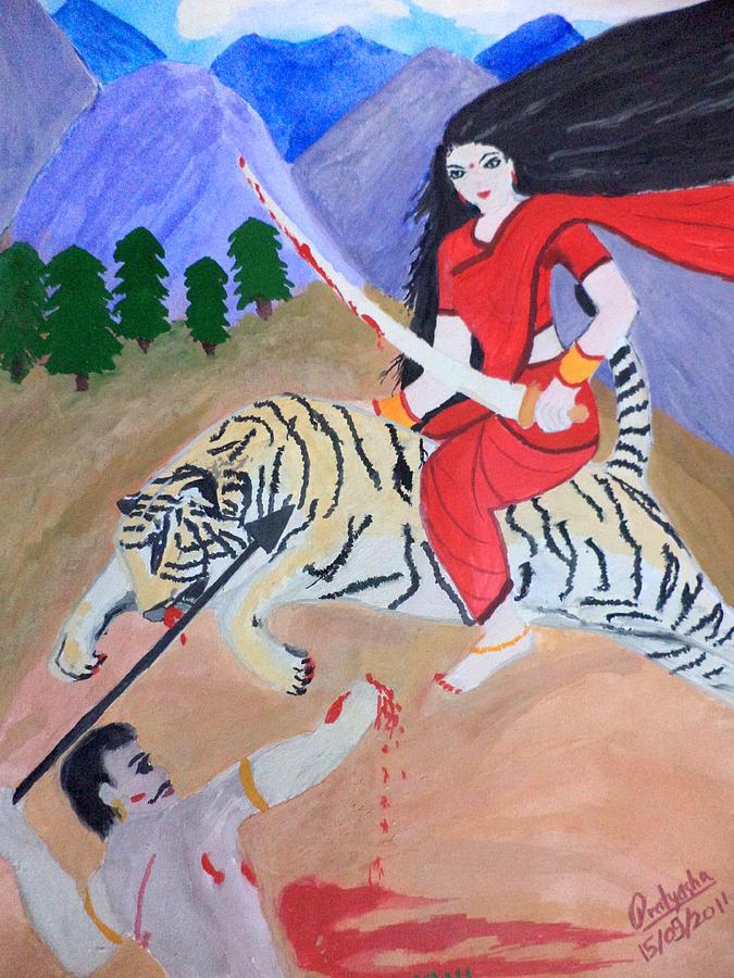 Devi Painting - Nava Durga Kaatyayani by Pratyasha Nithin