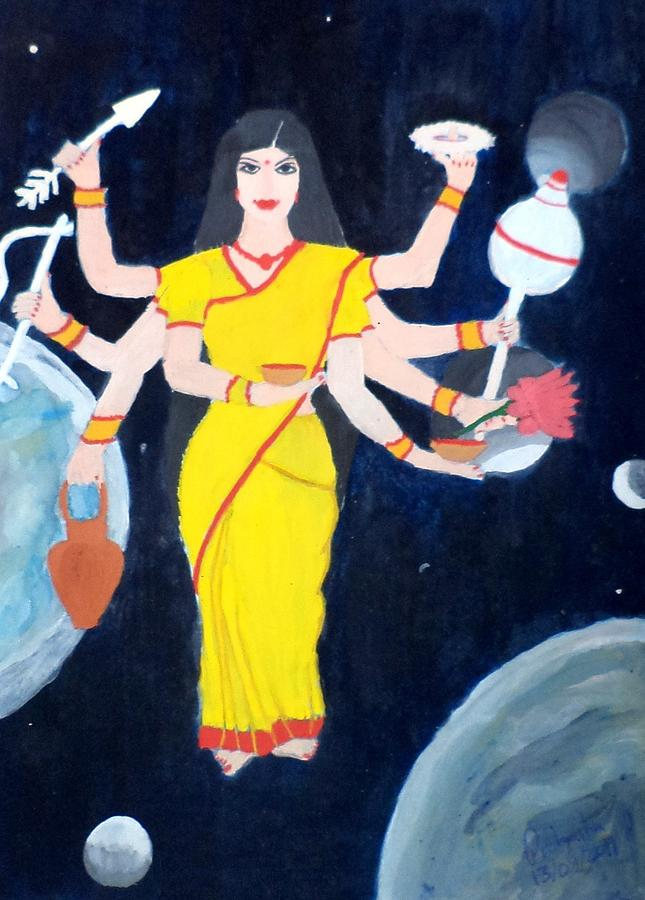 Nine Durgas Painting - Nava Durga Kusmaanda by Pratyasha Nithin
