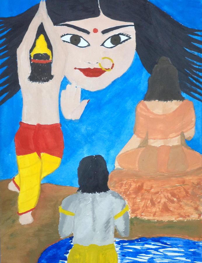 Devi Painting - Nava Durga Siddhidaatri by Pratyasha Nithin