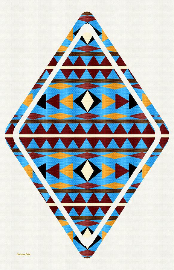 Navajo Mixed Media - Navajo Blue Pattern Art by Christina Rollo