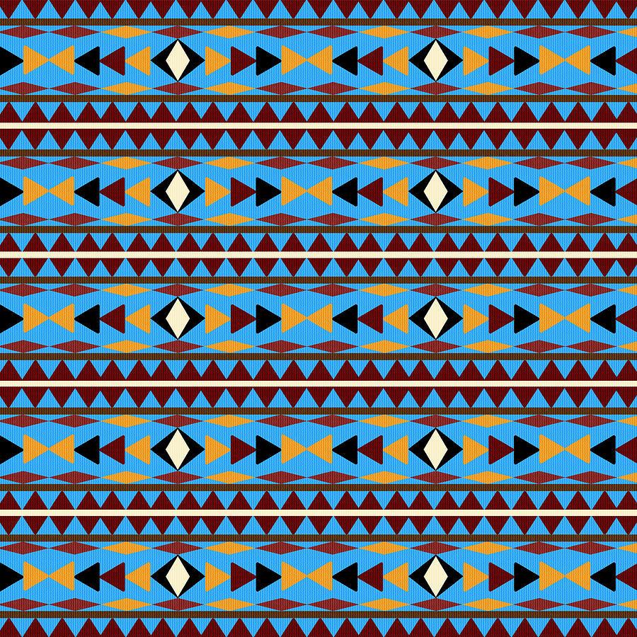 Navajo Mixed Media - Navajo Blue Pattern by Christina Rollo