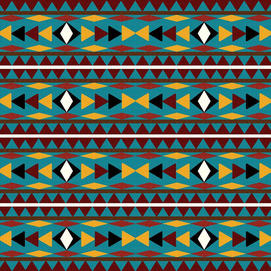 Navajo Mixed Media - Navajo Teal Pattern by Christina Rollo