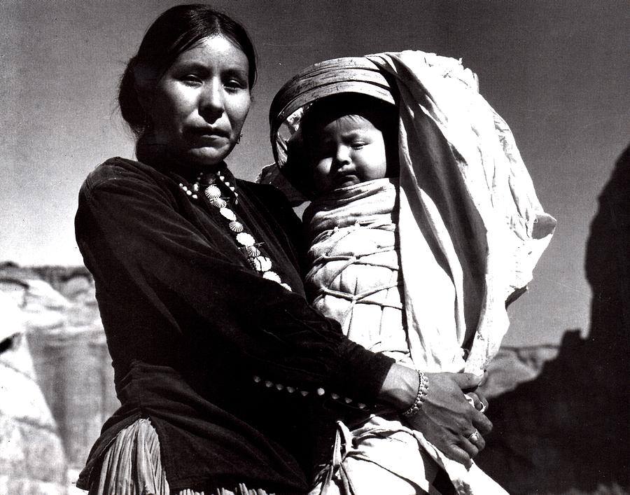 Navajo Woman Digital Art - Navajo Woman With Infant by Ansel Adams