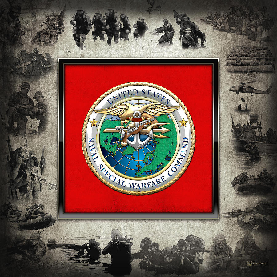Special Operations Digital Art - Naval Special Warfare Command - N S W C - Emblem  Over Navy Seals Collage by Serge Averbukh