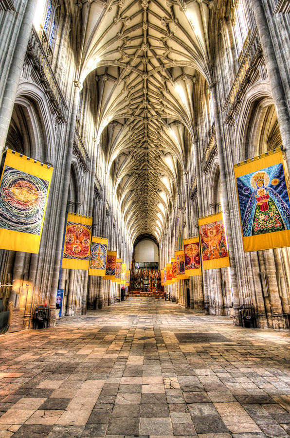 Winchester Photograph - Nave at Winchester cathedral by Peggy Berger