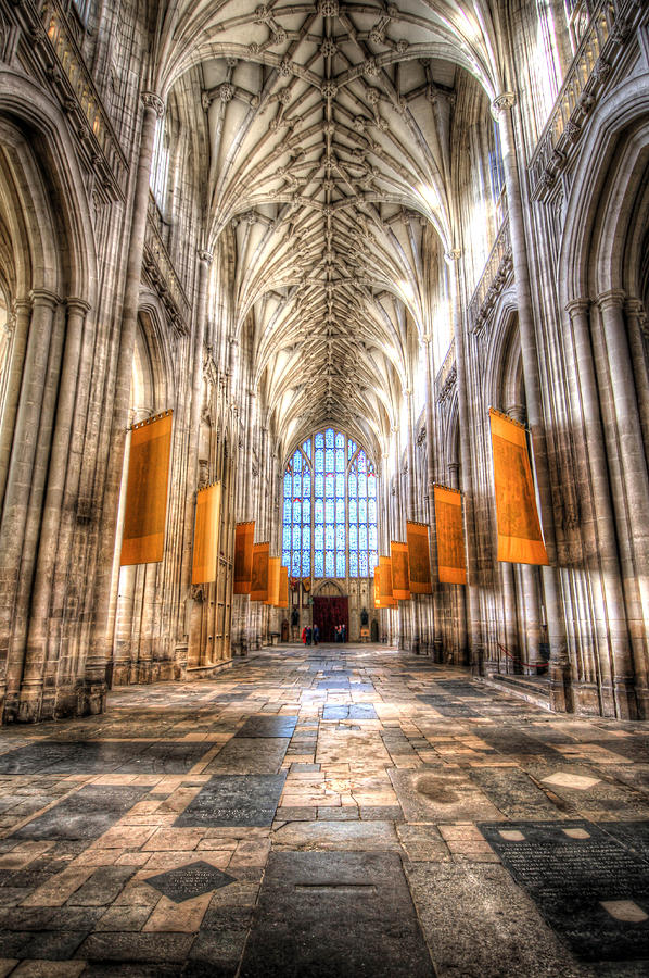 Nave Photograph - Nave at Winchester Cathedral towards West window by Peggy Berger