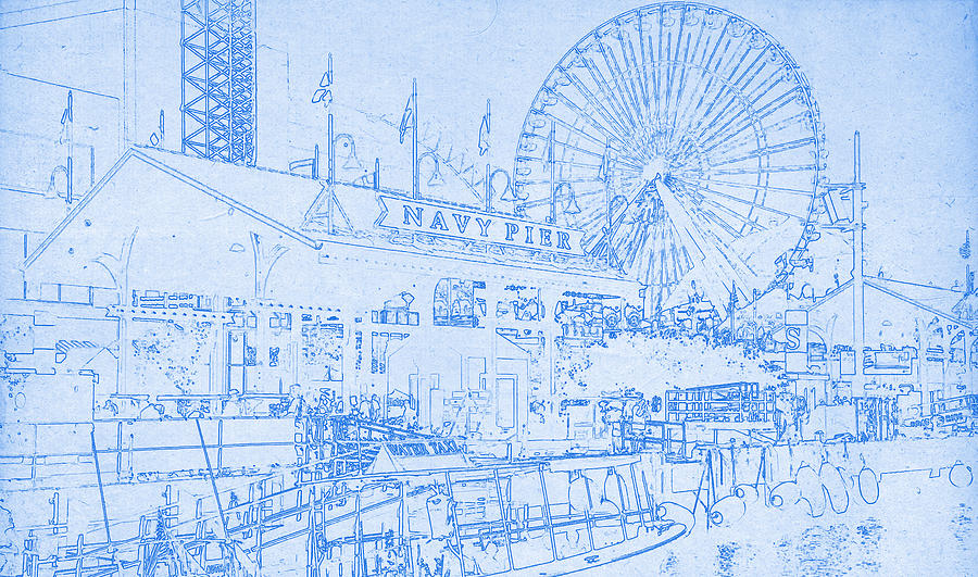 Navy pier chicago blueprint digital art by motionage designs poster digital art navy pier chicago blueprint by motionage designs malvernweather Image collections