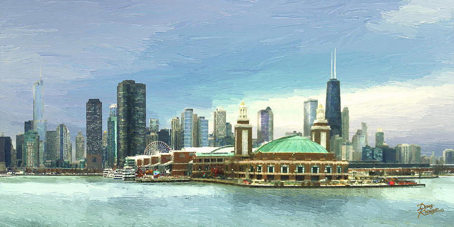 Chicago Skyline Painting - Navy Pier Chicago --winter by Doug Kreuger