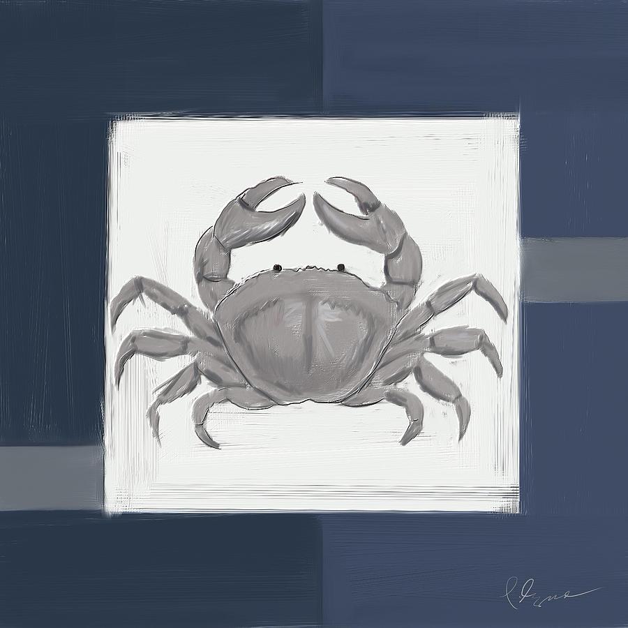 Navy Seashells Iv - Navy And Gray Art Painting
