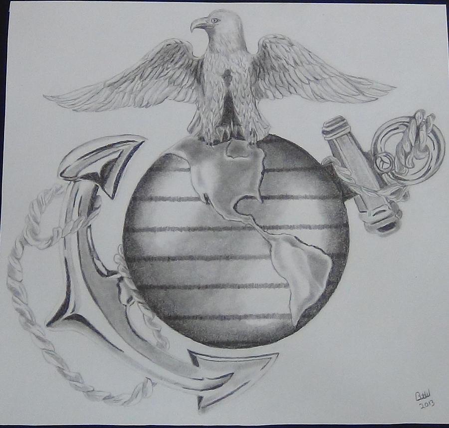 marine corps ega drawing by marine corps art by bruce ward