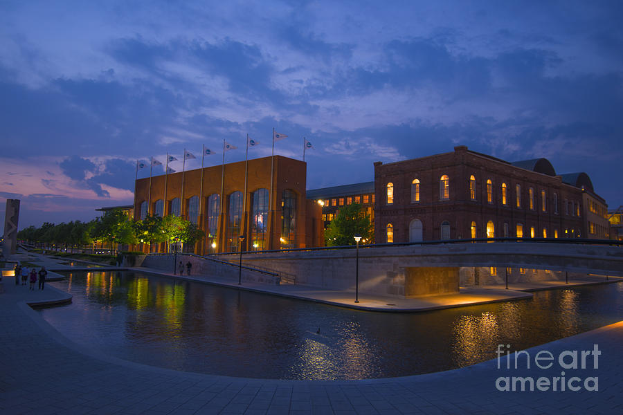 Indianapolis Photograph - Ncaa Hall Of Champions Blue Hour Wide by David Haskett