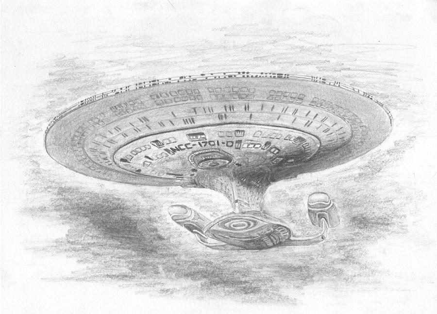 Space Drawing - Ncc-1701-d Enterprise by Michael Penny