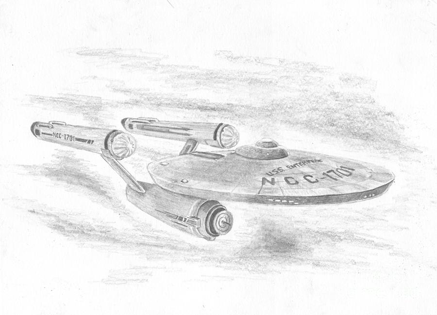 Space Drawing - Ncc-1701 Enterprise by Michael Penny