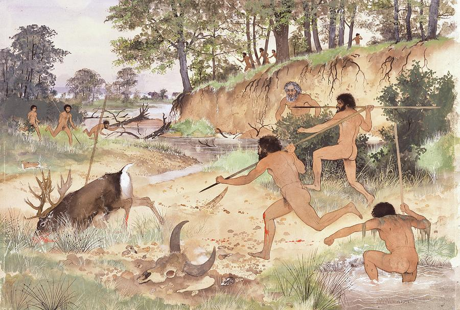 Anthropological Photograph - Neanderthal Group Hunting by Natural History Museum, London/science Photo Library