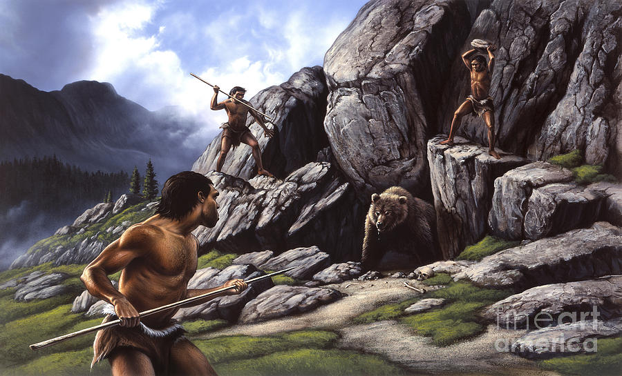 Neanderthals Hunt A Cave Bear Digital Art