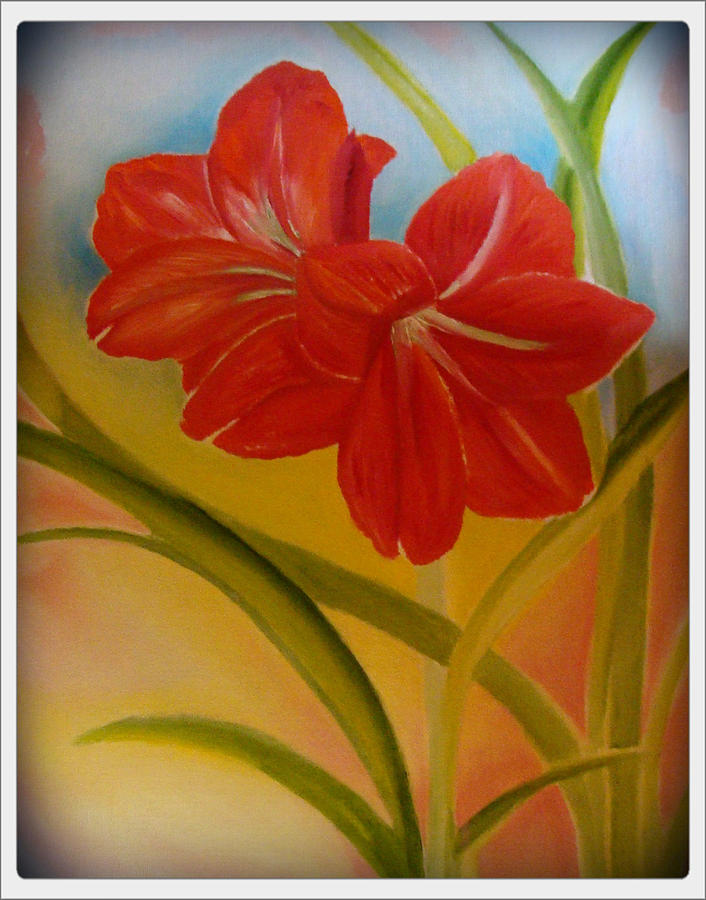 Nature Painting - Red Lily by Taskin B