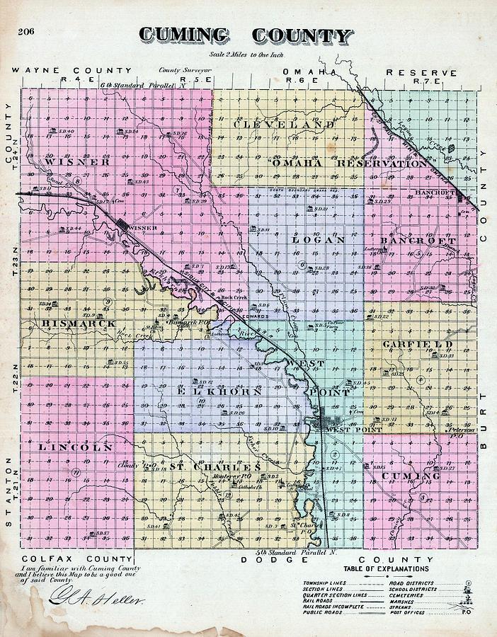 Nebraska 1885 Cuming County Nebraska State Atlas By Historic Map
