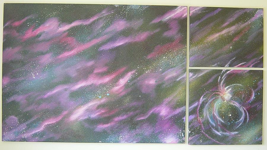 Space Painting - Nebula II Triptych by Mark Golomb