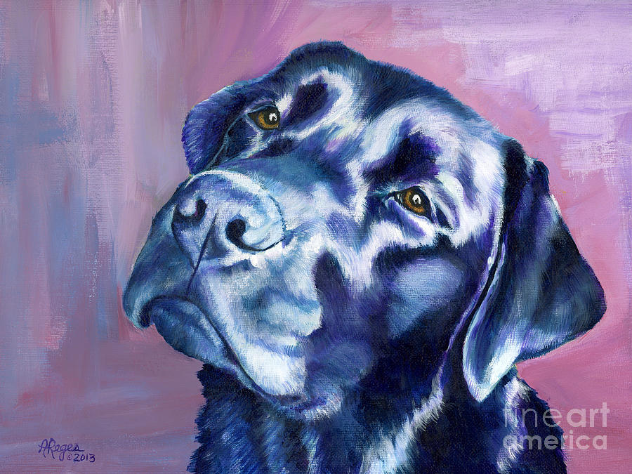 Dog Painting - Need Help With That? Black Lab by Amy Reges