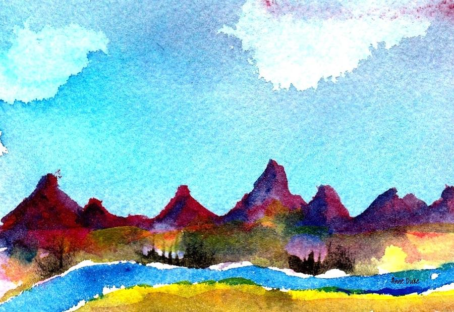 Watercolor Painting - Needles Mountains by Anne Duke