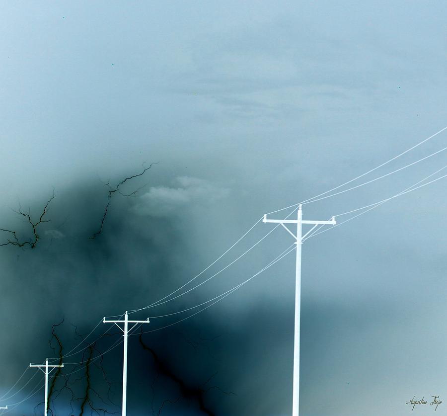 Lightning Photograph - Negative Connection by Augustina Trejo