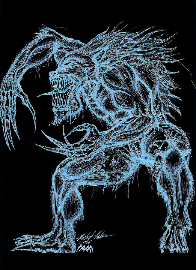Werewolf Digital Art - Negative Werewolf by Michael Mestas