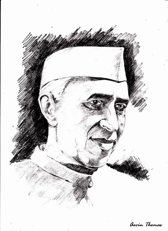 Nehru Drawing By Aevin Thomas