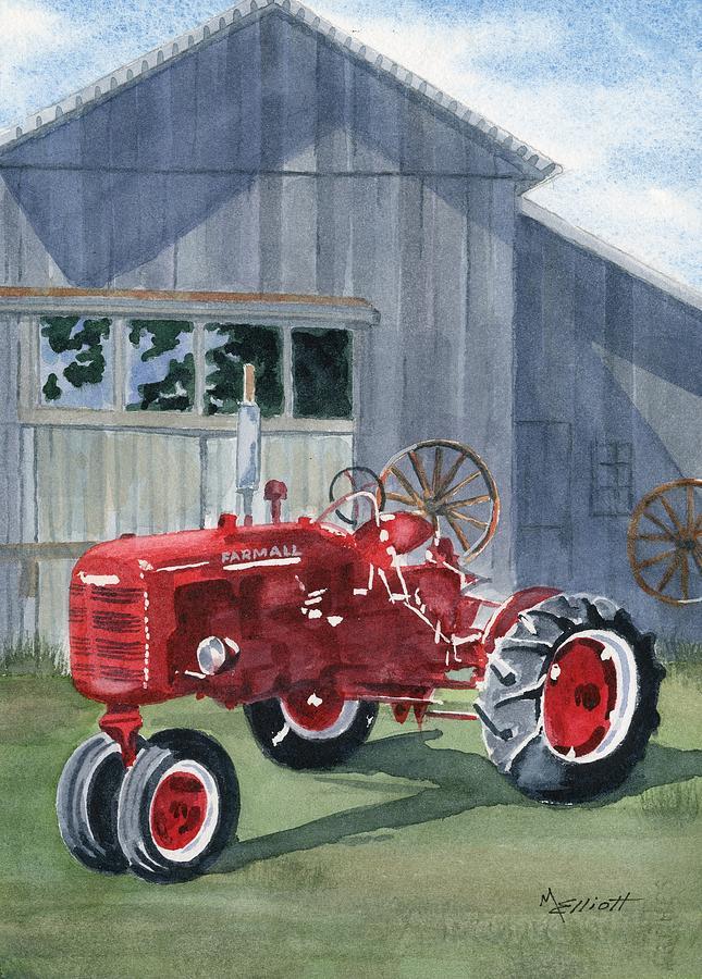 Tractor Painting - Neighbor Dons Farmall by Marsha Elliott