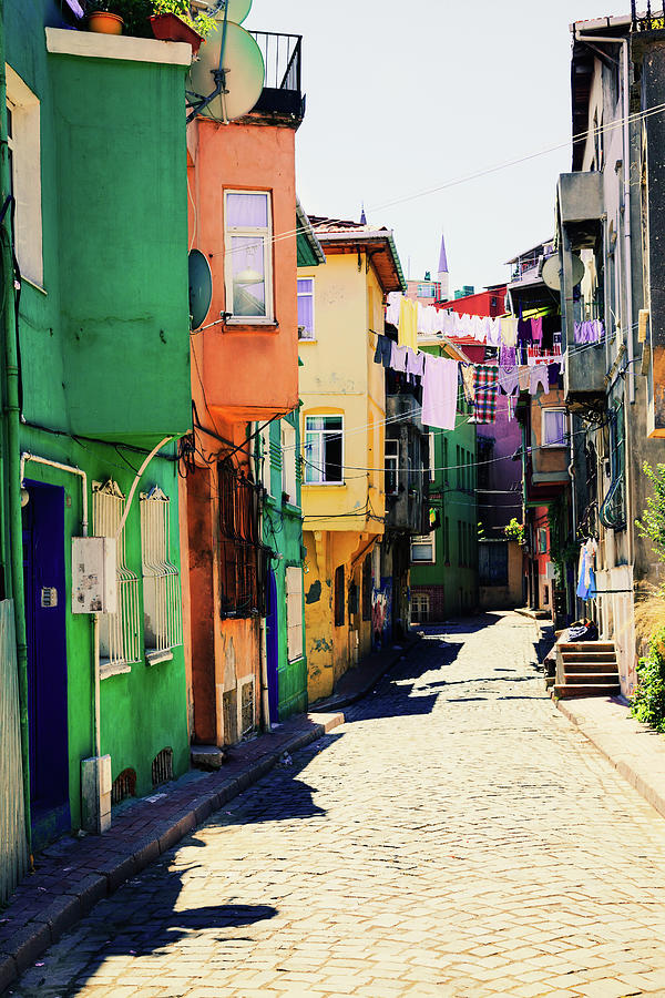 Neighborhood Of Colorful Houses In Photograph by Serts