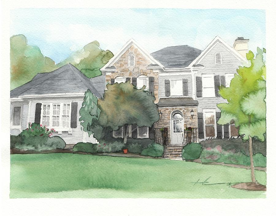 Neighbors House Watercolor Portrait Drawing by Mike Theuer