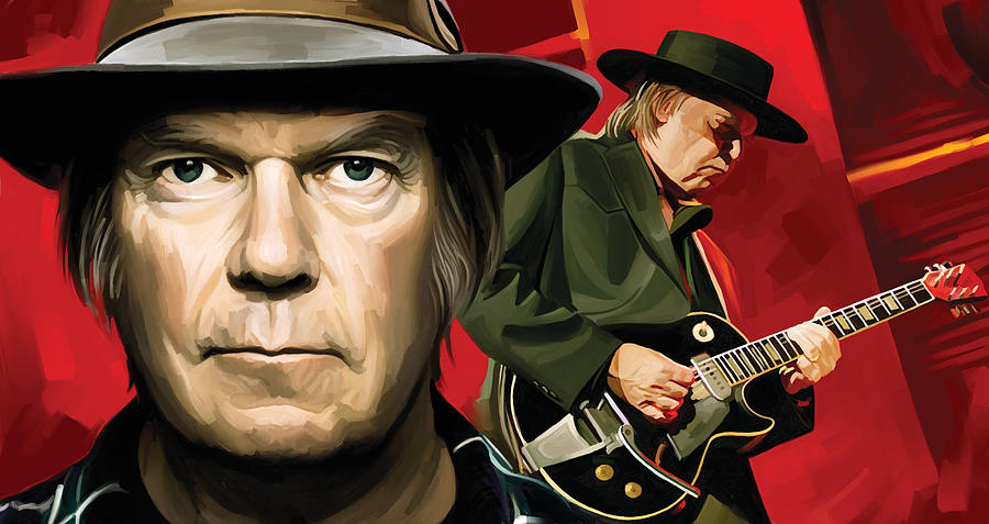 Neil Young Canvas Paintings Painting - Neil Young Artwork by Sheraz A