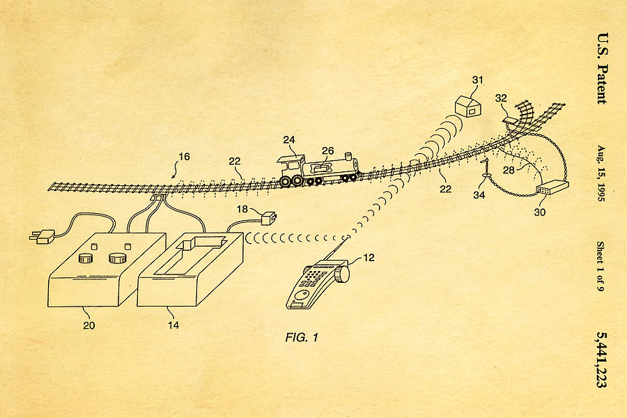 Famous Photograph - Neil Young Train Control Patent Art 1995 by Ian Monk