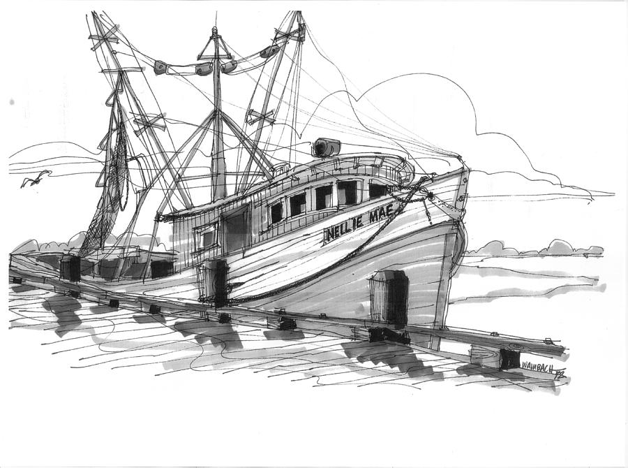 nellie mae fishing boat drawing by richard wambach Clam Clip Art Cartoon Shrimp Clip Art