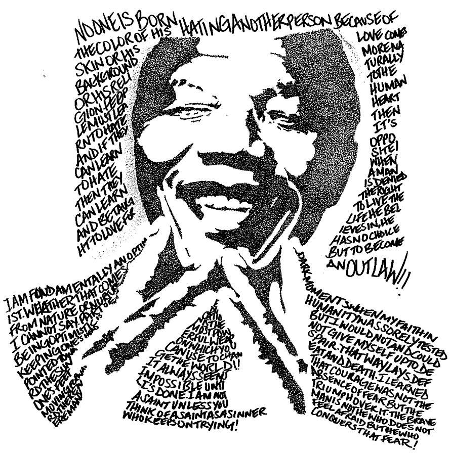 Lyrical Drawing - Nelson Mandela by Carlos Santana Trott